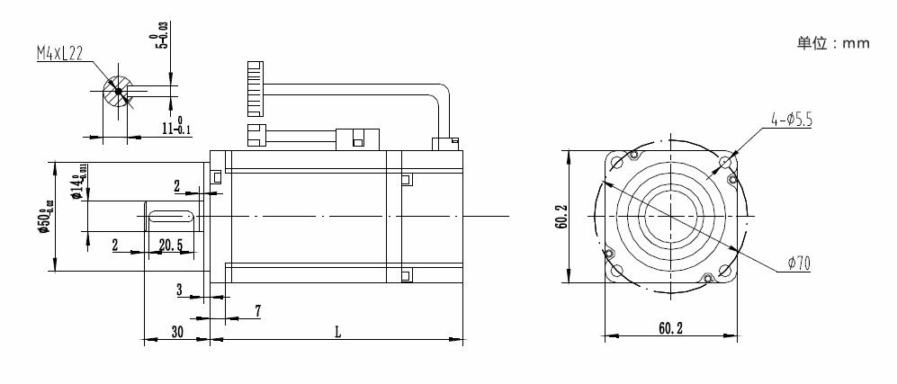 0.40 kw servo motor cizim
